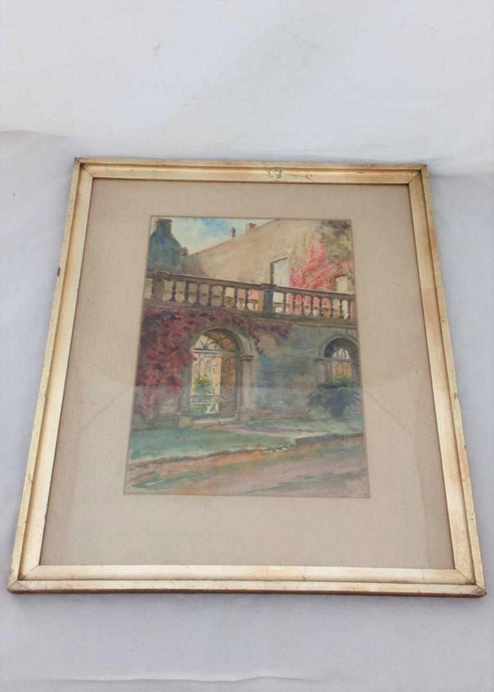 Antique Water-colour painting of Burford Priory in the Cotswolds West Oxfordshire Signed by Lucy Graham Smith dated 1920 Glazed and in a Gilt Slip