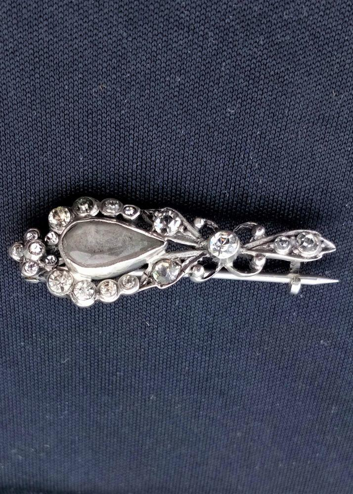 Antique Continental Silver Paste Set Halleys Comet Brooch Closed Foiled Back circa 1910