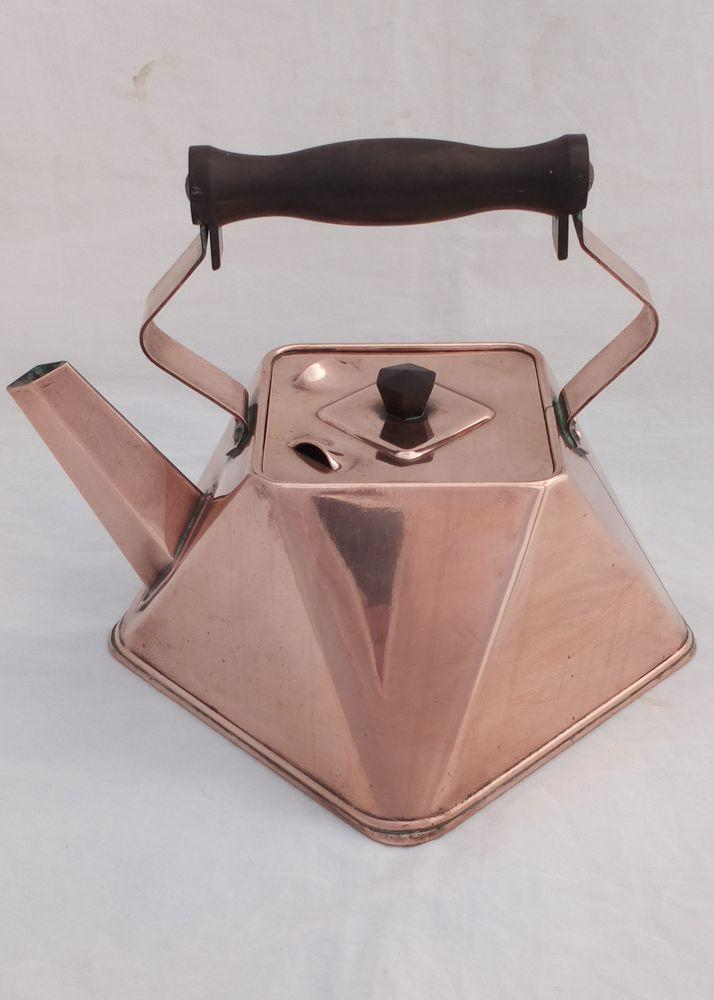 Antique Arts and Crafts Copper Kettle Square Triangular Cubist Shape Christopher Dresser Style circa 1910
