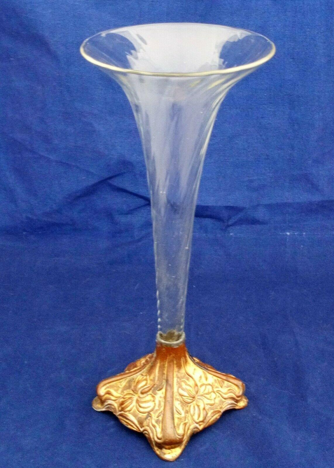 Art Nouveau Metal and Glass Epergne Floral Embossed Base Wrythen Trumpet Antique c 1890