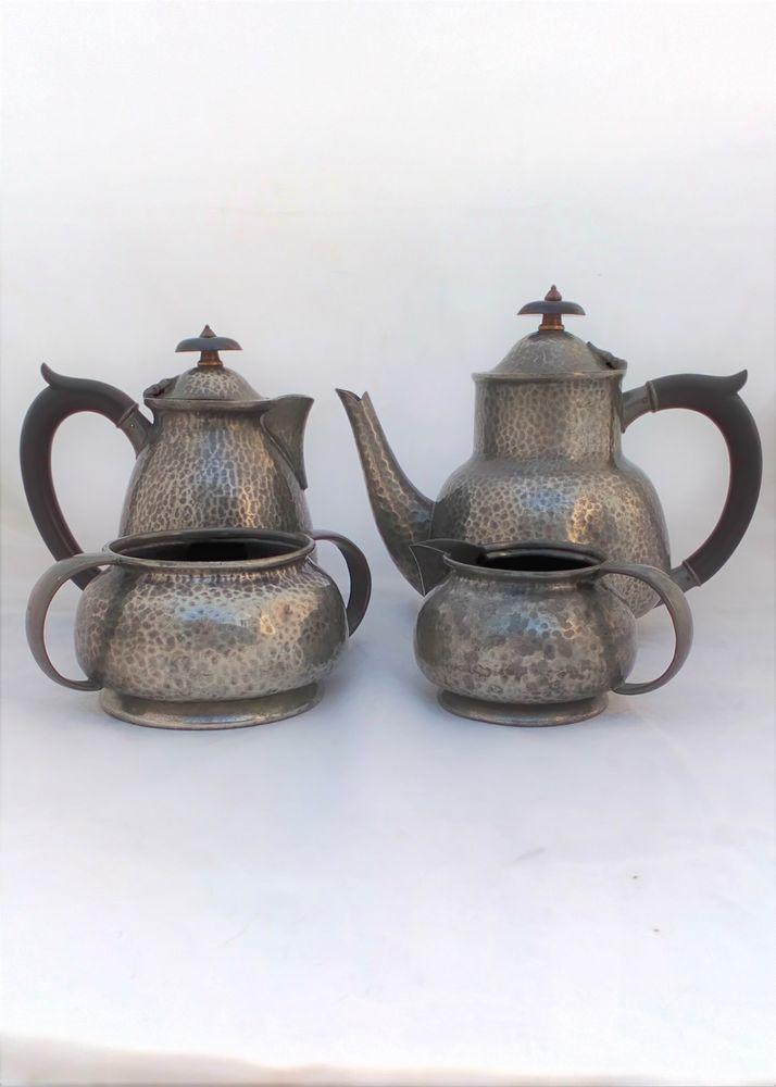 Antique Liberty's Tudric Pewter tea set a planished Arts and Crafts design attributed to Archibald Knox made by William Hair Hasler firm Solkets circa 1910
