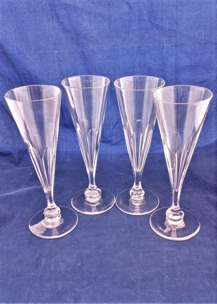 Set of four antique Victorian conical champagne flute wine glasses with faceted baluster knop bowl 19th Century circa 1860