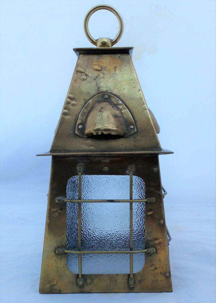 Arts and Crafts Caged Brass Hall Lantern Antique circa 1910