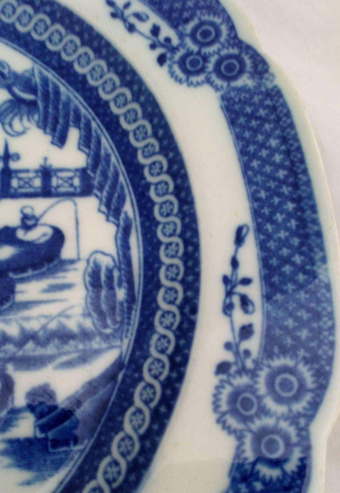 Pair of Antique Davenport Blue and White Transfer Printed Pearlware Plates with the Chinese Fishermen Pattern or Fishing Family Pattern circa 1795 to 1810.