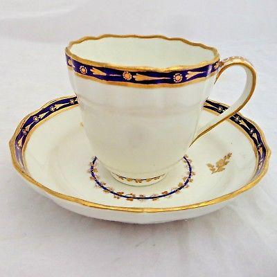 Antique Derby Porcelain Royal Flute Tea Cup & Saucer Puce Mark Patt. # 15 c 1785