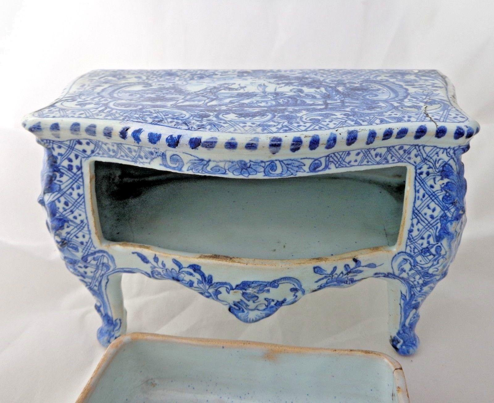 Delft Miniature Bombe Shaped Commode TGE Painted Blue & White Mark JB* Antique