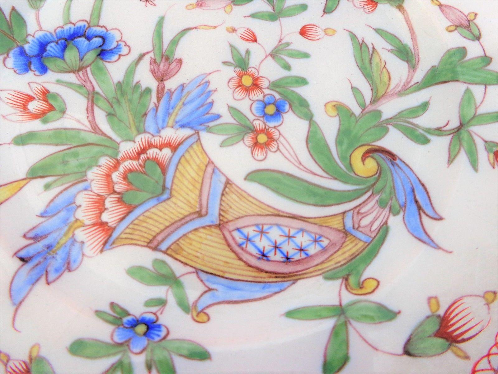 French Faience Plate Hand Painted Cornucopia Horn Plenty Mark MG Antique 19th C