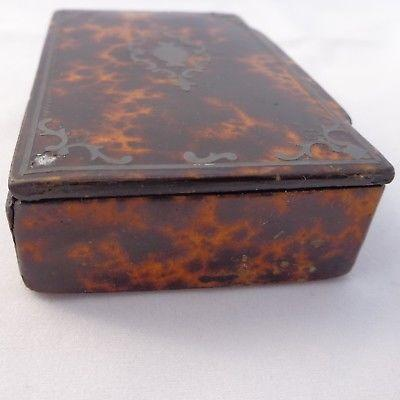 Antique Snuff Box Papier Mache Faux Tortoiseshell White Metal Inlay Table Snuff