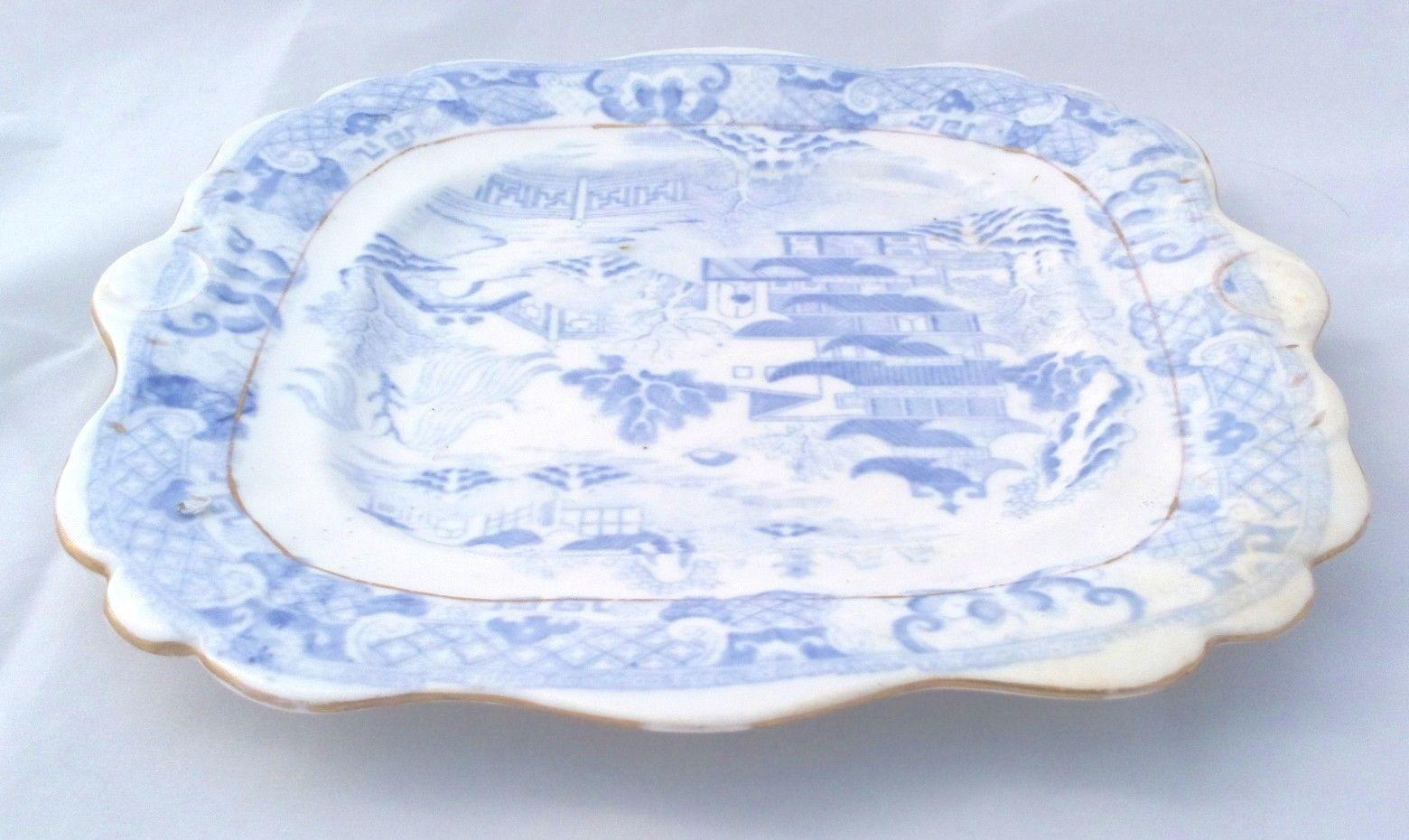 Antique Miles Mason Porcelain Bread and Butter Plate c 1810 Blue and White Print