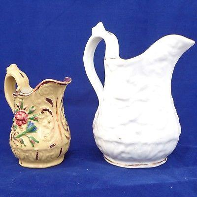 Antique Pair Relief Moulded Jugs Rose Pattern Porcelain and Yellow Ware c 1830