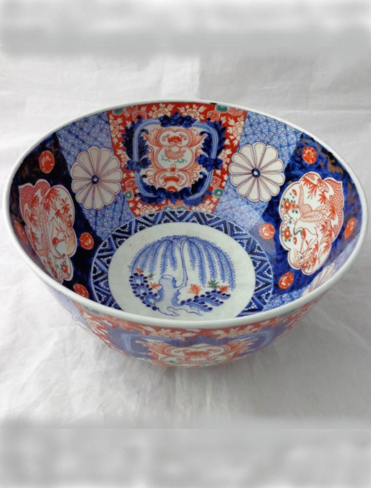 Antique Imari Bowl Japanese Porcelain Punch Bowl Hand Painted Meiji 19thC 28.5cm