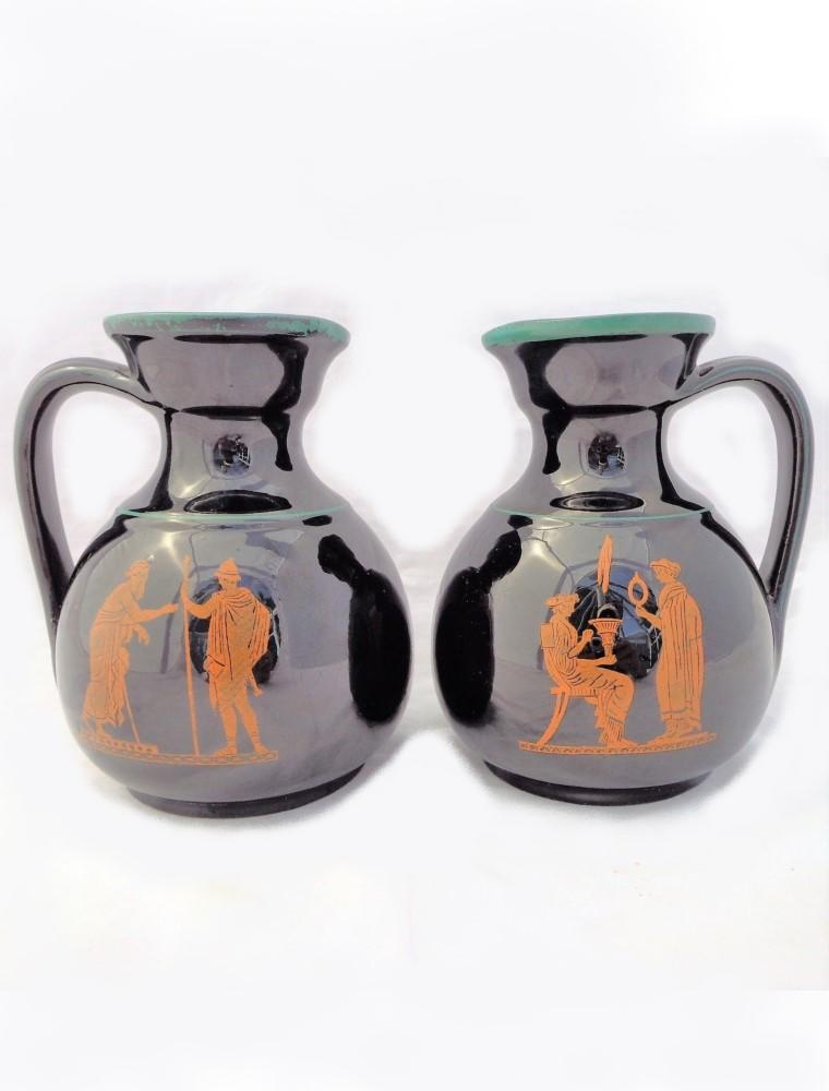 Pair Antique Etruscan Jugs Classical Greek Figures Jackfield Glaze S Alcock 1860