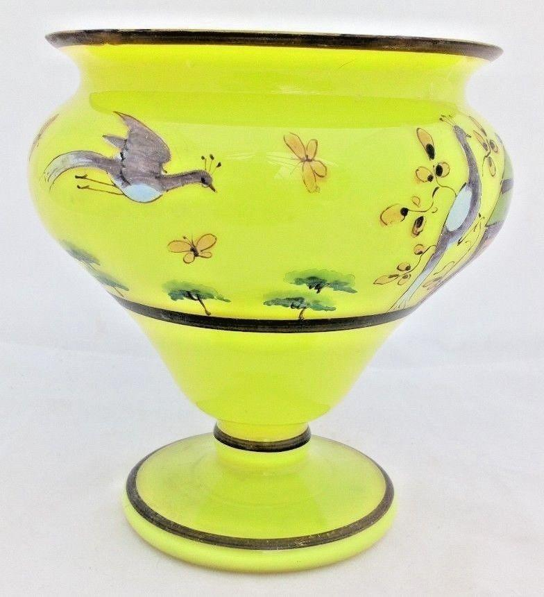Art Deco Czech Yellow Tango Glass Vase Bowl Hand Painted Peacocks c 1930s