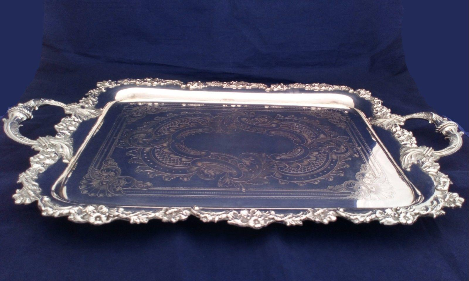 Antique Tea Service Aesthetic Movement Silver Plated Butler's Tray Atkin Br 1890