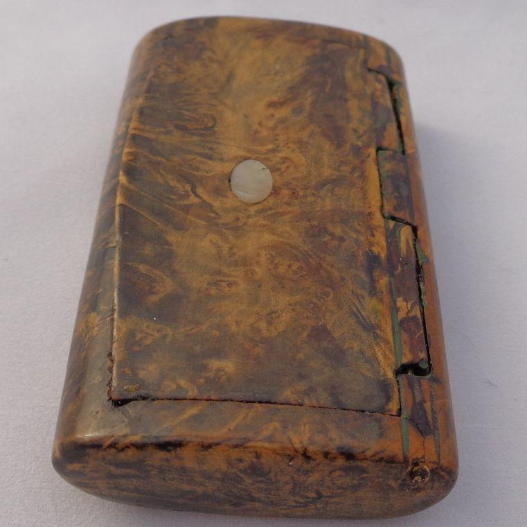 Antique Snuff Box Carved Burr Walnut Snuff Mother of Pearl Inlay Box Hinge c 1820