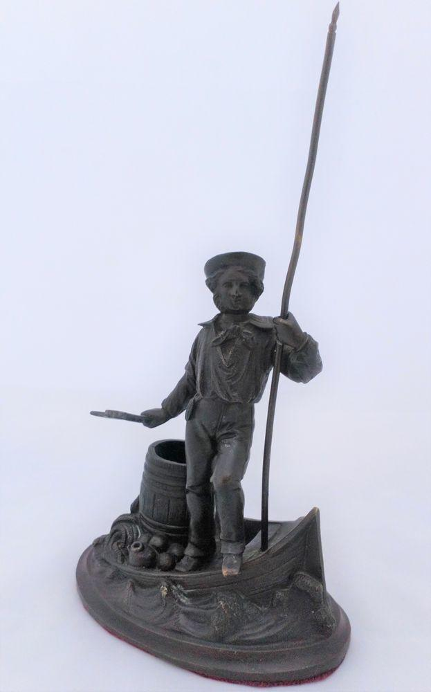 Bronze Match Holder Striker Jack Tar Sailor and Boat Antique Mid 19th C