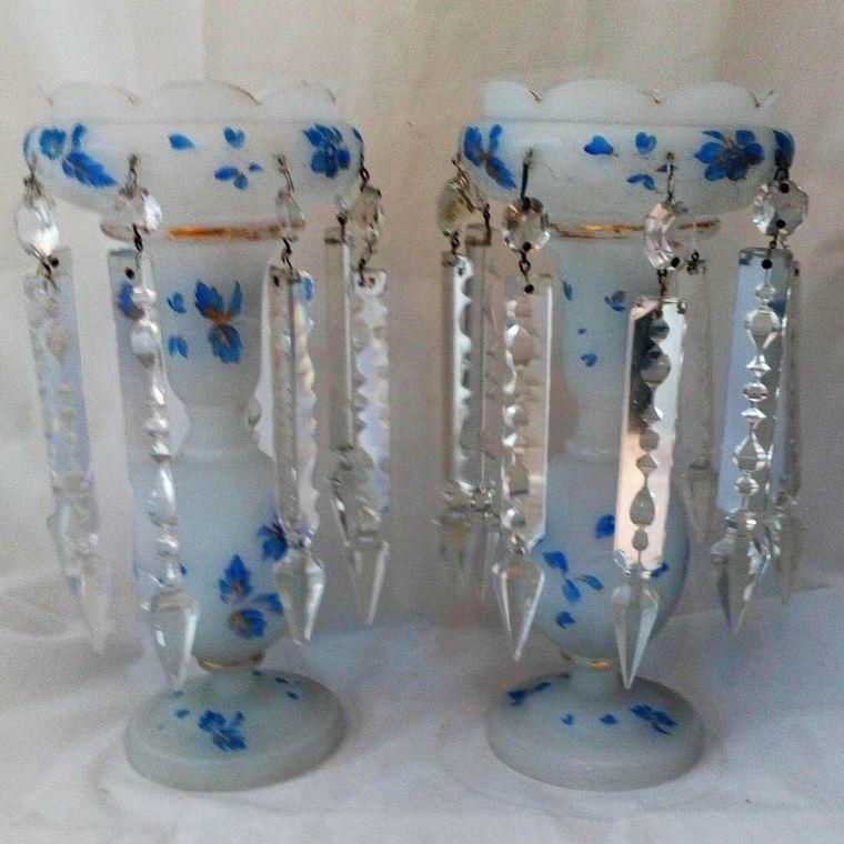 Pair of White Opaque Glass Mantle Lustre Vases Antique Victorian c 1870