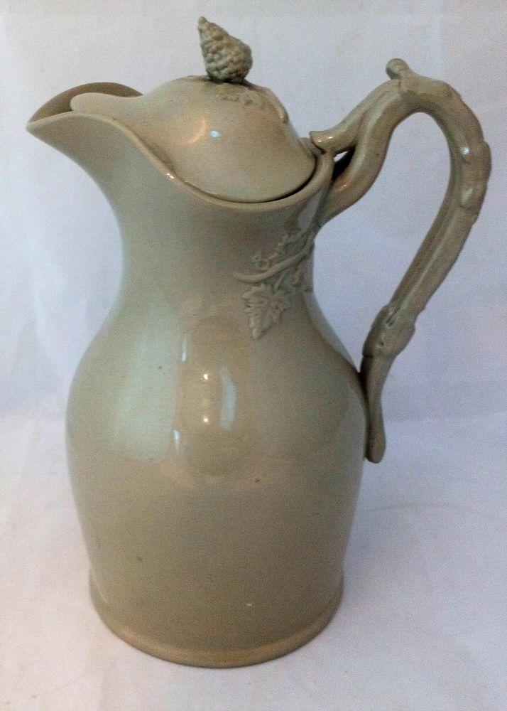 Buff Drabware Stoneware Wine Ewer and Lid Jug Pitcher Antique Victorian C 1850