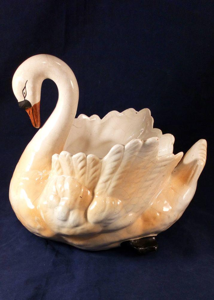Antique Pair Large Staffordshire Swan Planters or Jardinieres c 1890 - 1900 Rare