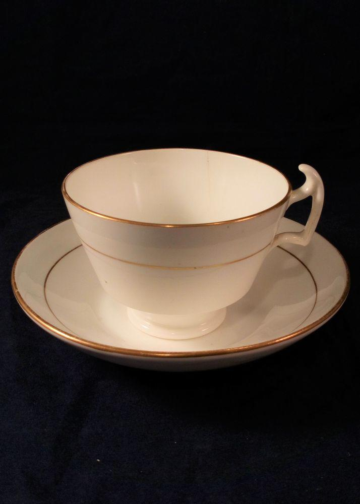 Porcelain London or Grecian Shape Tea Cup & Saucer possibly Swansea c 1815