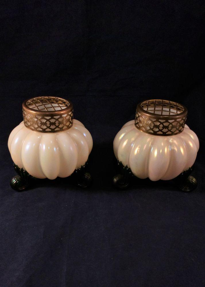 Pair Kralik Art Glass Rose Bowls Opalescent Pearlescent Glass Antique c 1890.
