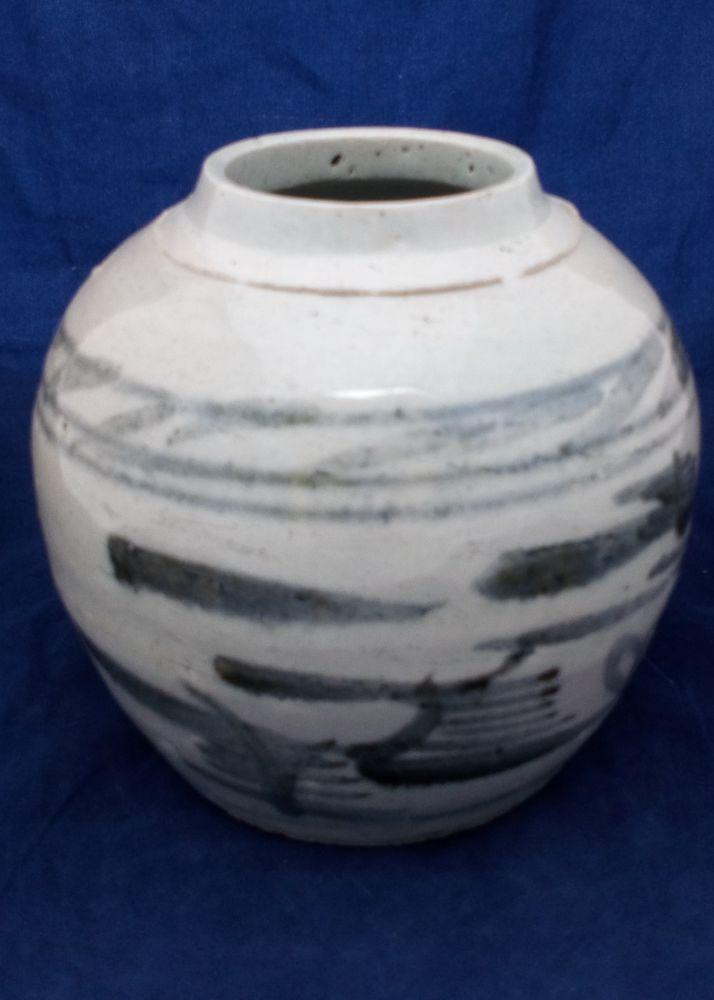 Chinese Stoneware Storage Jar Painted Riverscape 19th C Antique