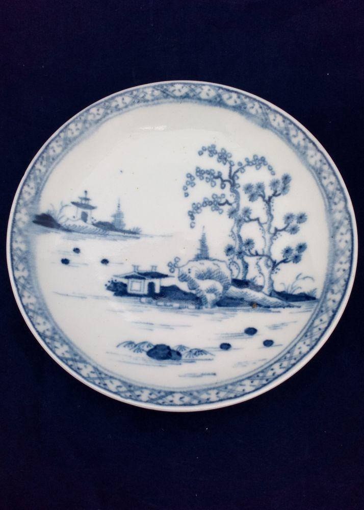 Worcester Porcelain Dr Wall Period Cannonball Pattn Blue and White Saucer c 1760