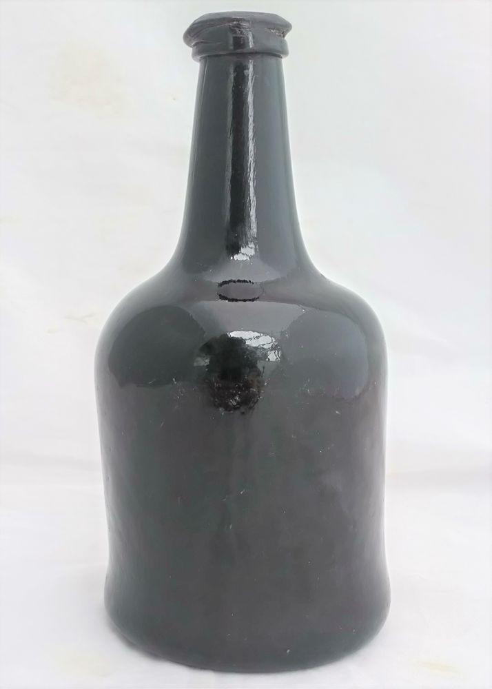 Antique Glass Wine Bottle Brown Squat Cylindrical Shape Georgian c 1770