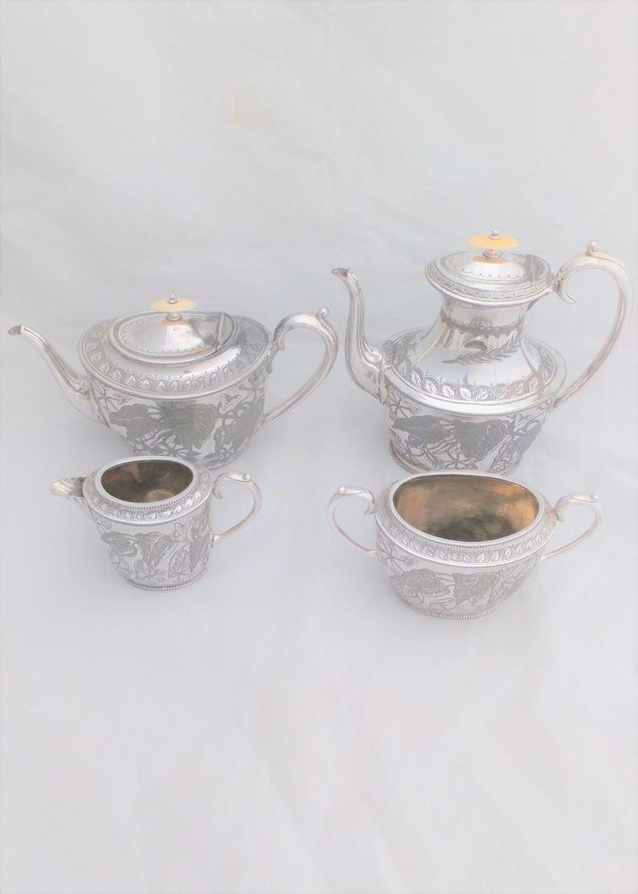 Victorian Aesthetic Movement Silver Plated Tea Service 4 Piece Richardson c 1870