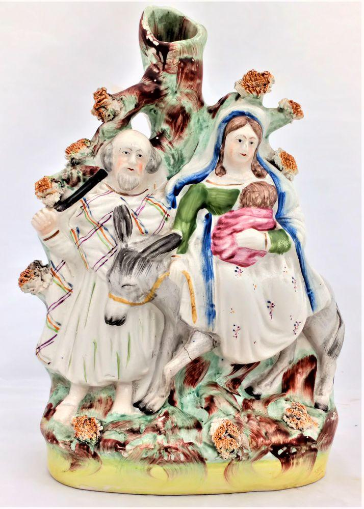 Staffordshire Flatback Spill-holder Flight to Egypt Joseph, Mary Jesus c 1860