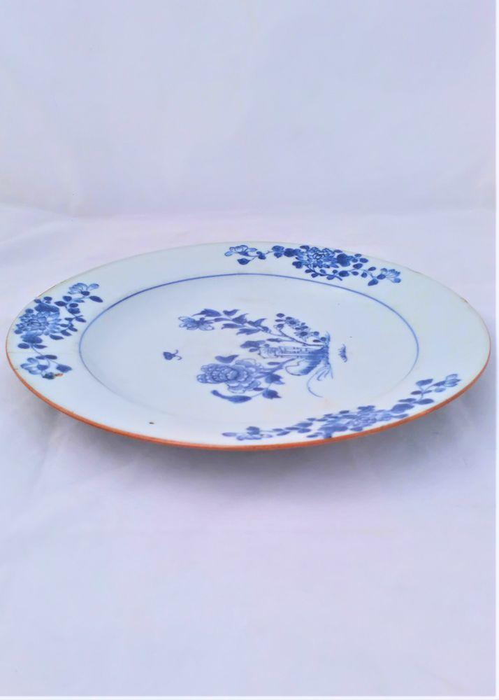 Chinese Porcelain Plate Hollow Blue Rock Butterfly Peony Brown Batavian Rim