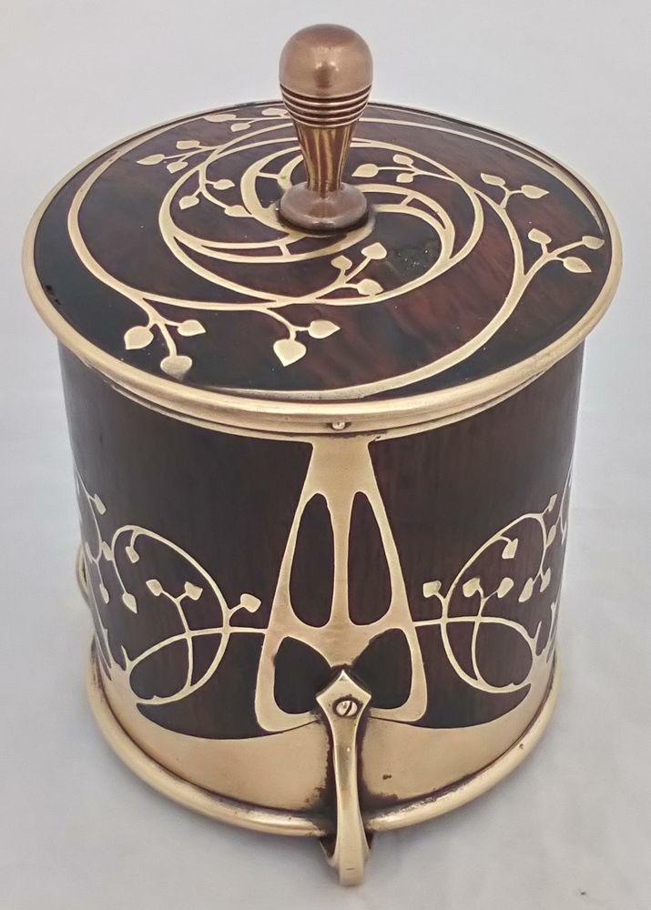 Art Nouveau Wood and Brass Inlaid Tray Tobacco Jar Erhard & Söhne.