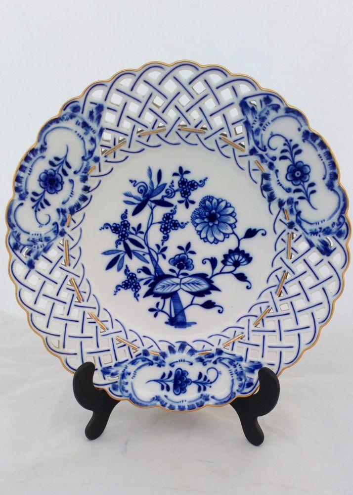 Antique Meissen Porcelain  Blue Onion Pattern Reticulated Plate Gilt Edge 19th C