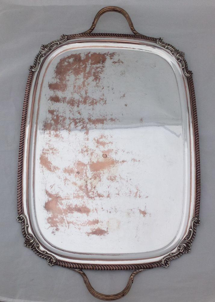Antique Silver Plate on Copper Footed Butler's Tray 26 inches Victorian  1870