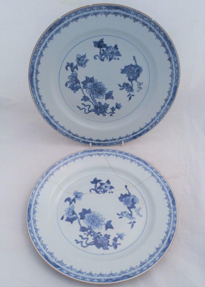 Pair Large Chinese Porcelain Dishes Blue White Batavian Rim Qianlong 1740