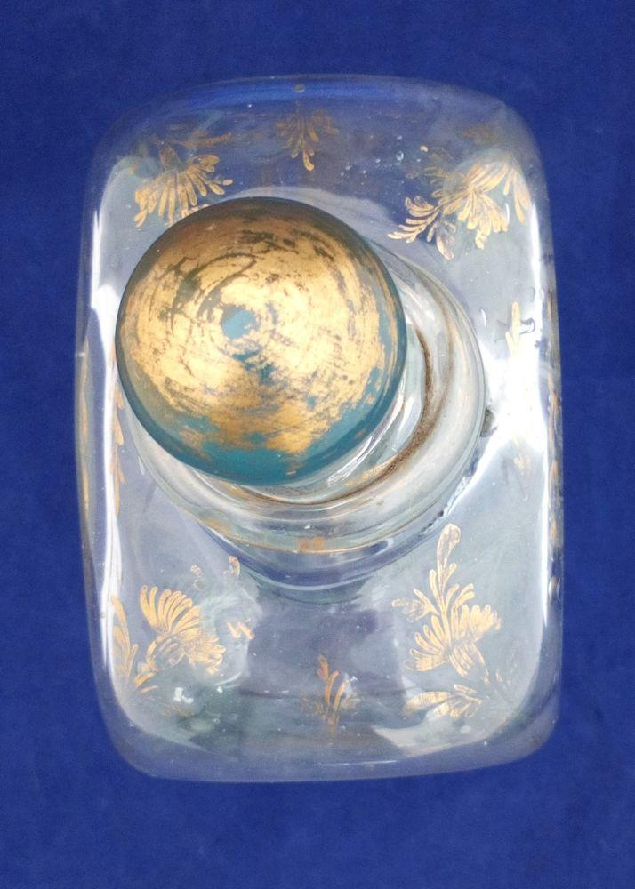 Georgian Dutch Style Glass Spirit Decanter Antique c 1800 Gilded Floral Swags