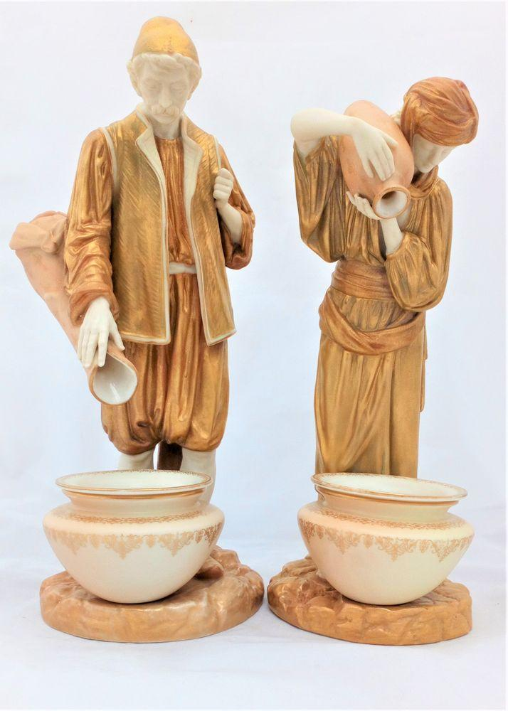 Royal Worcester Porcelain Pair Figurines Eastern Water Carriers 594 Antique 1917