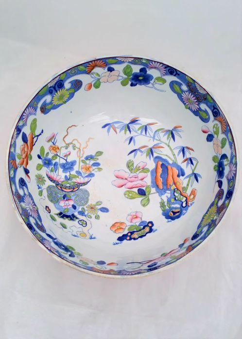 "Masons Patent Ironstone Punch Bowl Bamboo and Basket Pattern c 1813 13"" Diameter"