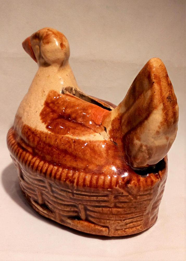 Novelty Pottery Chicken Shaped Money Box Yellow Ware Treacle Glazed Antique circa 1870