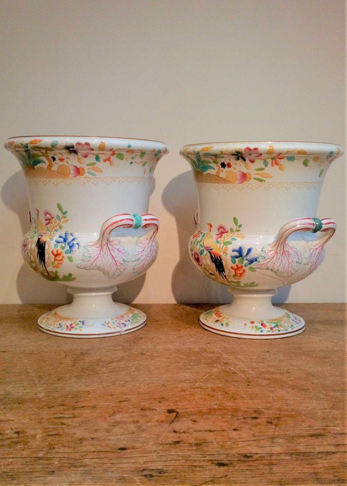 Pair Spode Pottery Campana Ice Pails Wine Coolers Pheasant Pattern 3438 c 1825