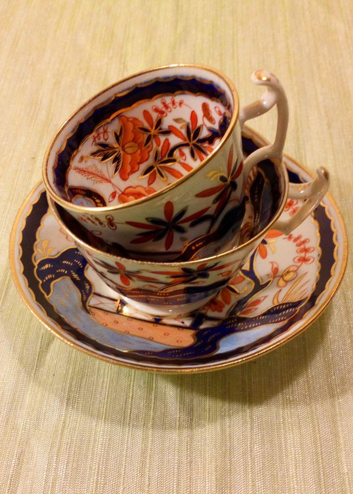 Antique Regency Period New Hall Porcelain Trio Japan Imari Fence Pattern Number 711 London Shape Cups & Saucer circa 1815