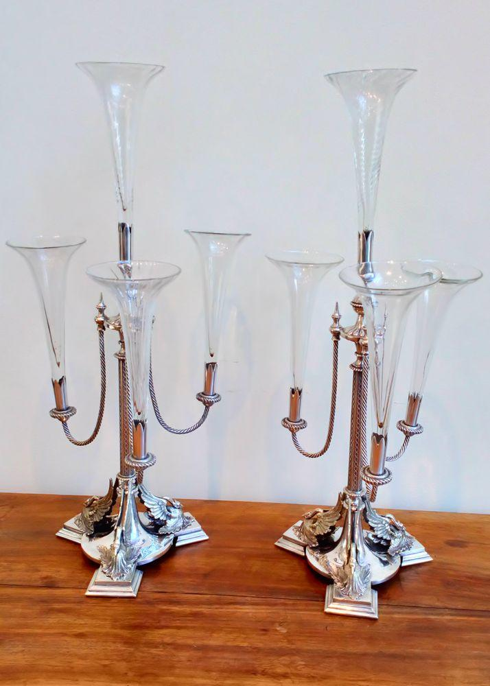 Antique Pair of Silver Plated Epergne Stands Phoenix Mounts Glass Trumpet Horns Victorian Neo Classical circa 1870
