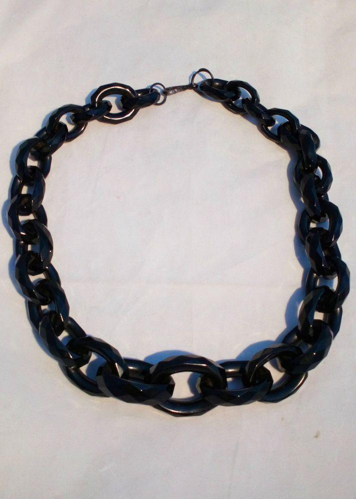 Gorgeous Victorian Carved Whitby Jet Necklace Chain Faceted Rings 21 inches 62 g Antique c 1870
