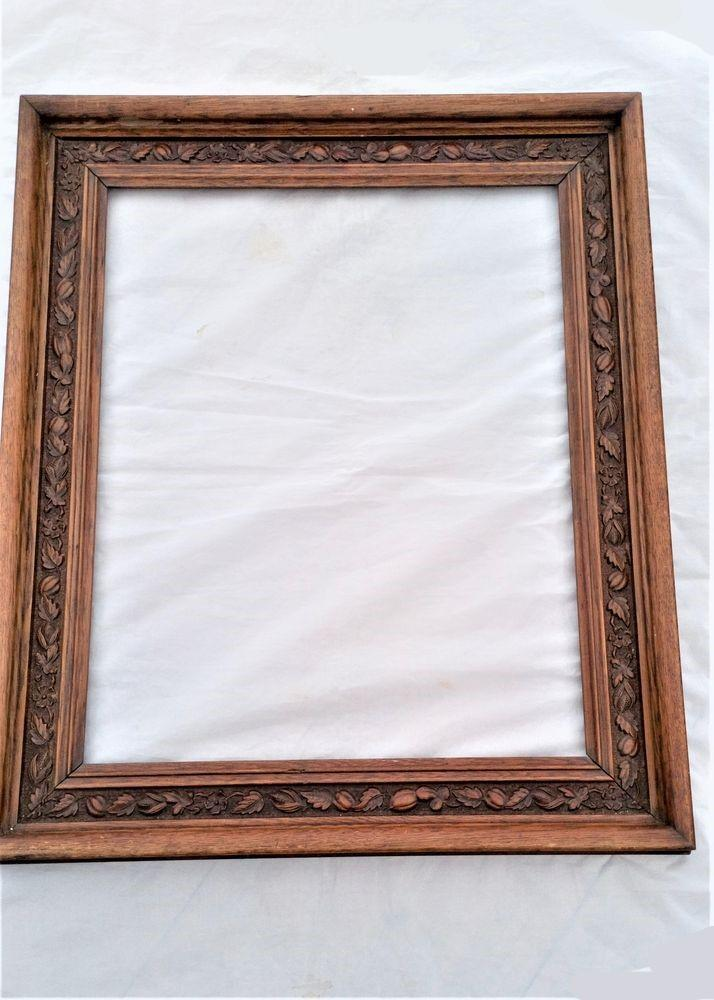 Antique Victorian Carved Oak Large Picture Frame 26 inches x 22 inches Rebated 19th C