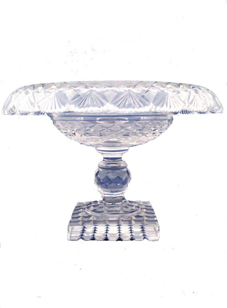 Antique Turn Over Rim Fan Cut Glass Comport or  Fruit Bowl on a  Square Base Anglo Irish George IV circa 1825