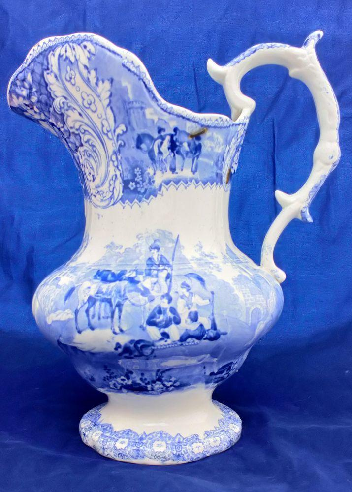 Antique Large Blue and White Jug Transfer Ware Arabian Sketches Pattern Rare circa 1830 possibly Ridgway