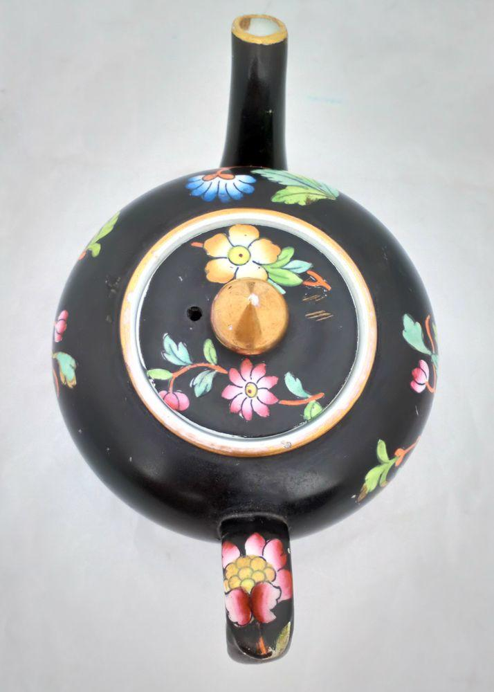 Antique Davenport Pottery Transfer printed Chrysanthemum Floral Spray Teapot with a Matt Black Ground circa 1860