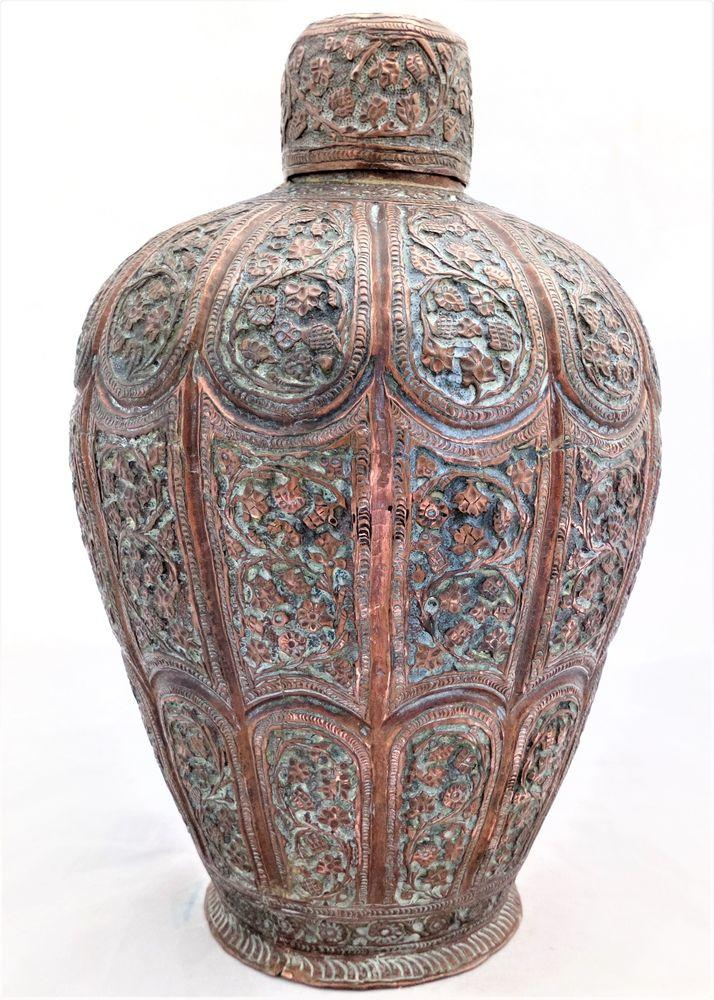 Antique Kashmiri Copper Tea Caddy or Storage Canister Indo Persian Islamic Chased Decoration Mughal era 19th Century circa 1850.