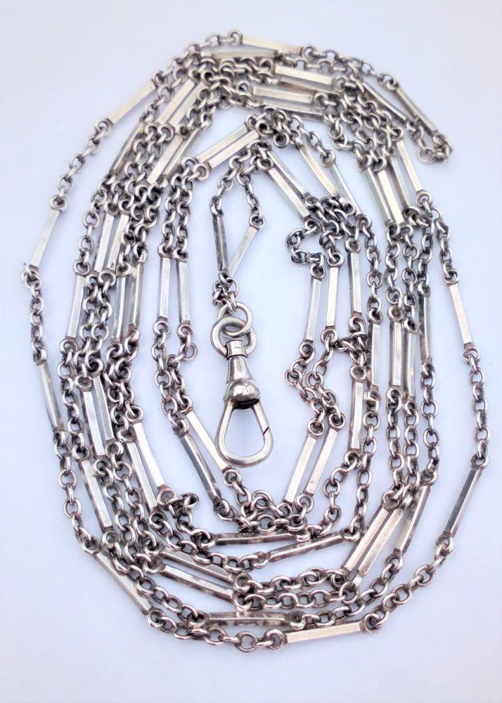 Antique Victorian Silver Fancy Link 60 inches Long Guard chain or Muff Chain with a Dog Clip circa 1880