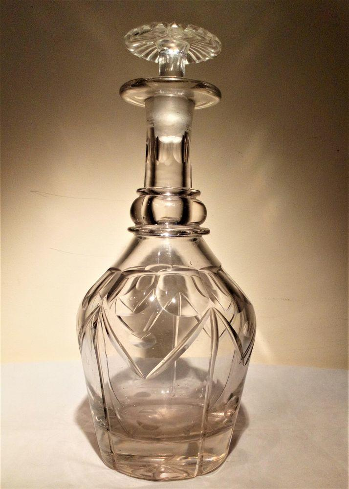 Antique Georgian Anglo Irish Cut Lead Crystal Prussian Shaped Decanter with Mushroom Stopper circa 1830 1.35 Kg
